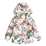 GONKOMA Baby Girl Long Sleeve Warm Hoodie Windbreakers Coat Outerwear Children Rainbow Thick Jacket Clothes Outfit (Multicolor, 7Years)