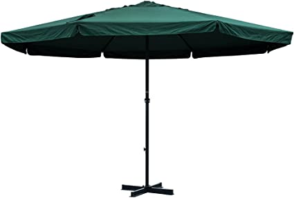Sundale Outdoor 16 Ft Aluminum Patio Umbrella Table Market Drape Umbrella With Crank And Cross Bar Set For Garden Deck Backyard Pool 8 Alu Ribs 100 Polyester Canopy Dark Green