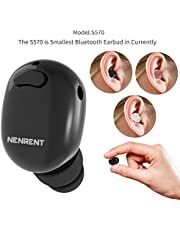 NENRENT S570 + Bluetooth Auricular, Auricular más pequeño Mini Invisible v4.1 Wireless Bluetooth Headset Auricular con 400mAh Estuche Cargador Dock para iPhone iPad Samsung Galaxy LG HTC 1pcs