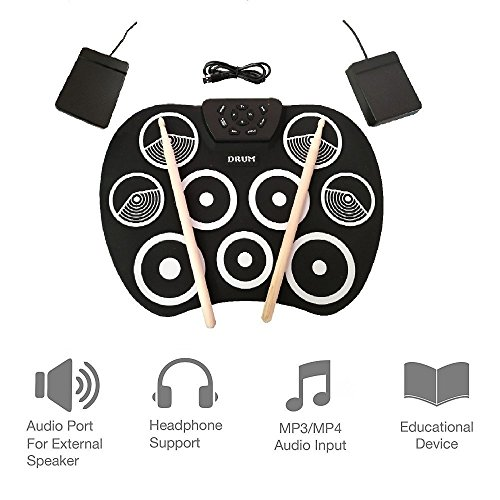 XUEM Digital Electronic Drum,Roll up Drum Pad Kits Built in Speaker 9 Pads Portable Foldable Practice Instrument with 2 Foot Pedals and Drum Sticks USB