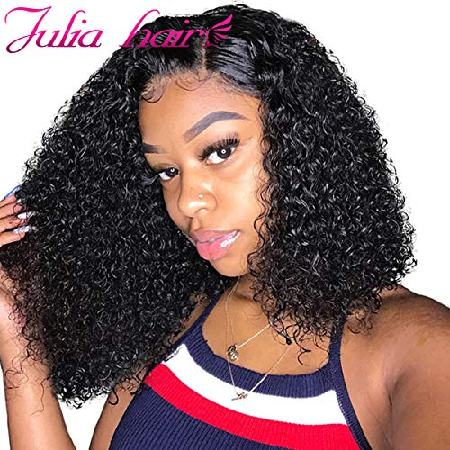 Julia Hair Short Curly Bob Wig 13x4 Lace Front Human Hair Culy Wigs 180% Density,Pre Plucked with Baby Hair Malaysian Virgin Curly Hair Wigs Natural Black Color 8inch