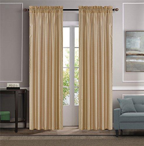OKSLO MR2 GOLD 2-PC SET MYRA Rod Pocket Faux Silk Window Curtain Treatment, Set of Two
