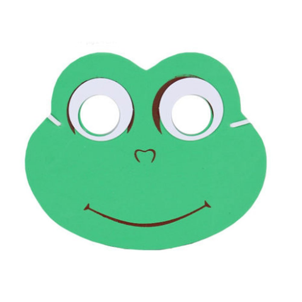 Panda Superstore 10 PCS Children's Performance Props Children animal masks,Green Frog