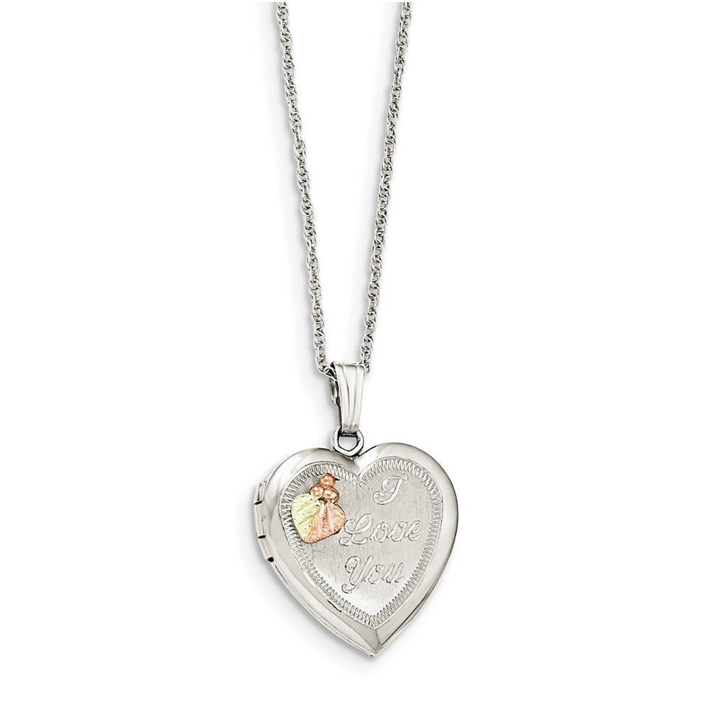 Sterling Silver & 10k Heart I LOVE YOU Locket Necklace QBH191-18''
