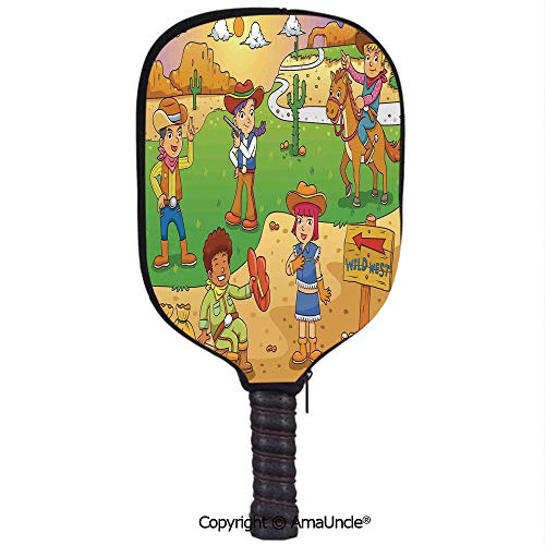 SCOXIXI 3D Pickleball Paddle Racket Cover Case,Child Cowboy Cute Wild West Cartoon North America Culture Kids DecorCustomized Racket Cover with Multi-Colored,Sports Accessories ()