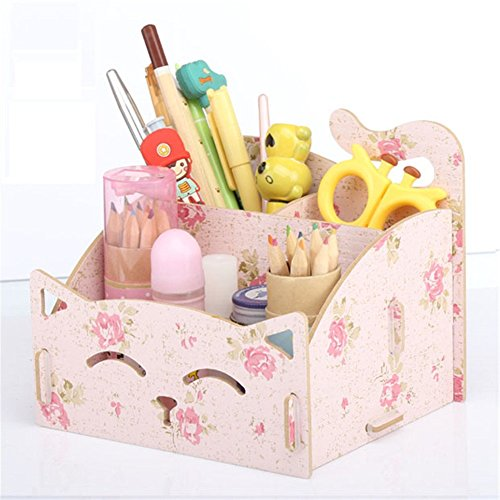 DIY Assembly Multifunction Wooden Card Holder Pencil Holder Office Supplies Office Desktop Storage Decoration Desktop Storage Box,a Great Valentine's Day, Halloween, Christmas (Cute Office Accessories)