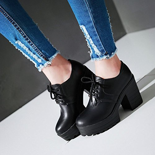 Carolbar Womens Lace up Fashion Retro Vintage Platform Chunky High Heel Ankle Boots Black s4pVD