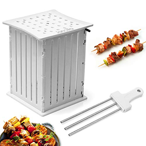 Janolia 36 Hole Skewers Food Slicer, BBQ Brochette Grill Shish Kebab Maker Box Kit Tool, Portable Barbecue Grill Roasted Meat Cutter with a Skewers Pusher, White 6.3x5.7x7.3inch (Kitchen Savannah)