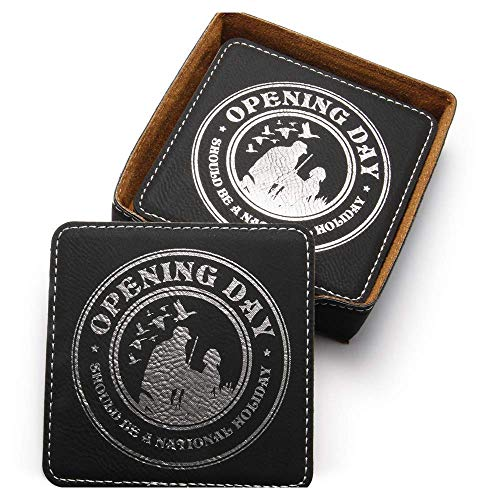 (HUNTING GIFTS FOR MEN Opening Day Ducks Waterfowl 6 Coaster Set in Black Duck )