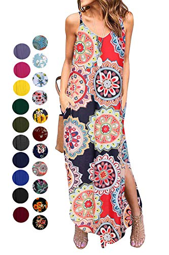 - Kyerivs Women's Summer Dress Casual Loose Beach Cover Up Long Plain Print Cami Maxi Dresses with Pocket Circle Print XL (18-20)