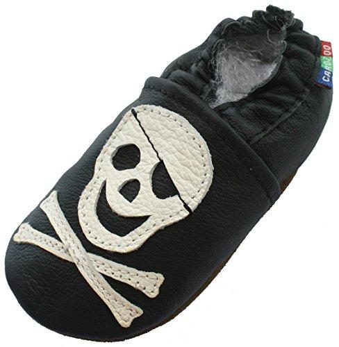 Carozoo Hausschuhe, Leder, weiche Schuhe, Sohle, für Baby, Kleinkinder, Kinder, Design Pirat, Schwarz