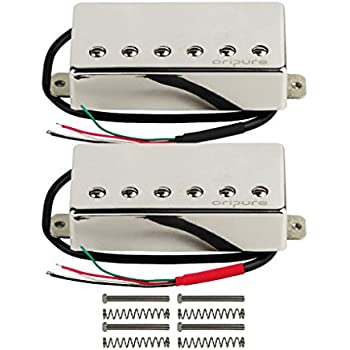 OriPure Alnico 5 Sealed Guitar Humbucker Pickups Neck & Bridge Pickups Set for Les Paul Guitar Part, Chrome