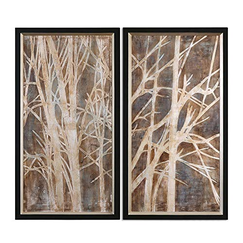 Uttermost 41543 Twigs Hand Painted Art (Set of 2), Black and Brown