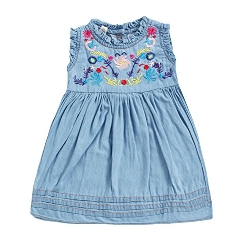 Azhido Toddler Kids Demin Tank Dress Flower Embroidery Mini Dresses Clothes for Little Girls (Demin, 5T(Suggest Height 43.30
