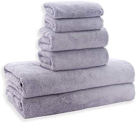 Set of 6 Quick Dry Super Water Absorption Soft Coral Cotton Terry Towels