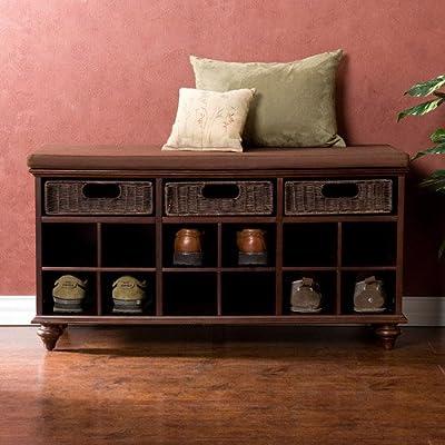 Transitional style shoe bench, Maple veneer, hardwood & rattan construction