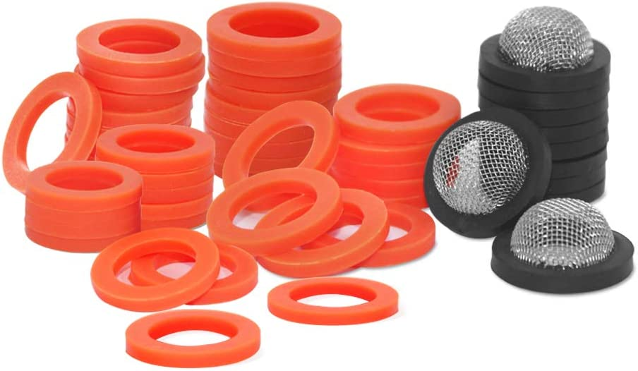 """Sonku Garden Hose Washers Silicone Rubber Washers Seals&Stainless Steel Coupling Filter Washers, fit All Standard 3/4"""" Garden Hose Fittings-50 Pack"""