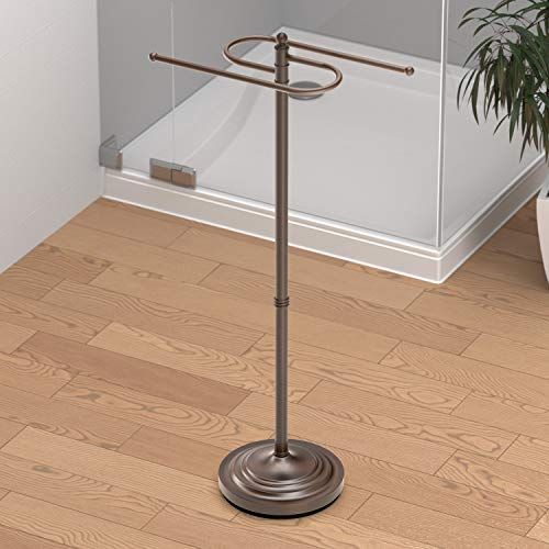 Gatco 1508 Floor Standing S Style Towel Holder, Bronze (Bronze Bath Standing Towel Holder)