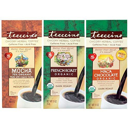 Teeccino Variety Pack (Mocha, French Roast, and Maca Chocolate) Chicory Herbal Coffee, Caffeine Free, Acid Free, 11 Ounce (Pack of 3) ()