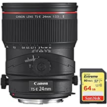 Canon TS-E 24mm f/3.5L II Ultra-Wide Tilt-Shift Manual Focus Lens (3552B002) with Sandisk 64GB Extreme SD Memory UHS-I Card w/ 90/60MB/s Read/Write