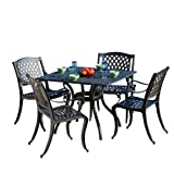 Best Selling Home Decor 5-Piece Gaffey Cast Aluminum Outdoor Dining Set, Black Sand Review