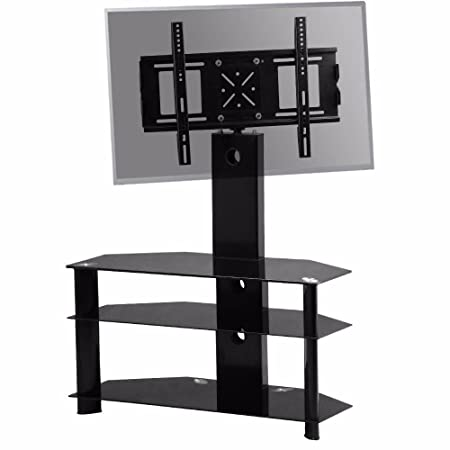 Chinkyboo Large Swivel Tv Stand Mount Bracket 3 Tier Black Glass