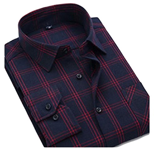 SportsX Mens Long Sleeve Shirt Hip-Hop Fit Plus Size Grid Dress Shirts 20 XL