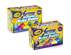 Get prepared for arts and crafts, posters, and school projects with vibrant washable paints. Our 12 pack gives you fun color variety with glitter paints added to the mix. These water-based paints are easy to apply with brushes, sponges, stamp...