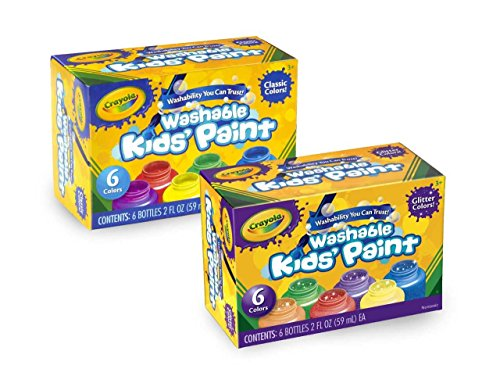 Crayola Washable Kids' Paint, Includes Glitter Paint, 12 (Crayola Sparkle)