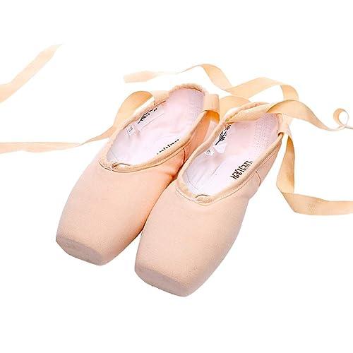 Zapatillas de Ballet Satinados Dance Zapatos con Suela Partida de Cuero Mujer Niña Zapatilla Ballet Ballerina Principiante Ensayo Clase Baile Entrenamiento ...