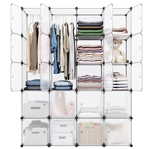 LANGRIA 20-Cube DIY Modular Cubby Shelving Storage Organizer Extra Large Wardrobe with Clothes Rod, Furniture for Clothes (Transparent)
