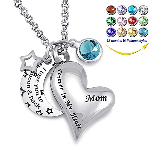 YOUFENG Urn Necklaces for Ashes I Love You to The Moon and Back for Mom Cremation Urn Locket Birthstone Jewelry (December urn Necklace)