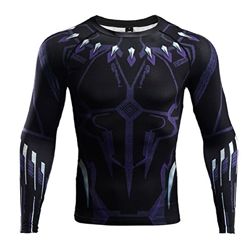 Long Sleeve Black Panther Compression Shirt Mens Gym Tight Tops