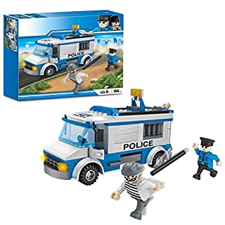 Olimond Toys City Police Car Building Kit Prisoner Transporter Building Blocks Police Patrol Car Toys 194 Pieces Bricks Construction Play Set for Boys and Girls 4150