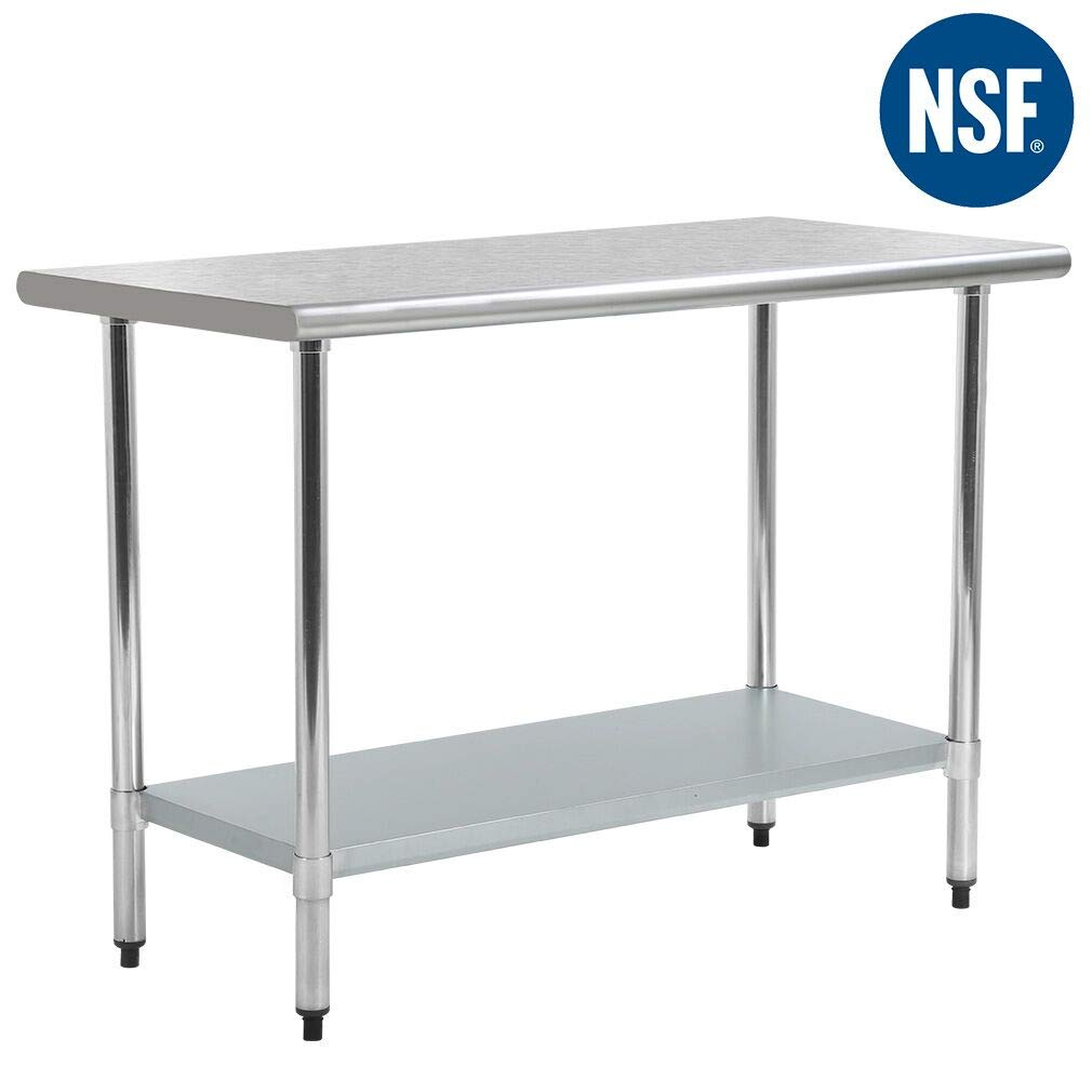 FDW Commercial Scratch Resistent And Antirust Metal Stainless Steel Kitchen Work Table With Adjustable Foot,24 X 48 Inchs Length 48inch