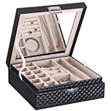 Best Bling Jewelry Birthday Gift For Women - BEWISHOME Jewelry Box 2 Layer Jewelry Organizer Holder Review