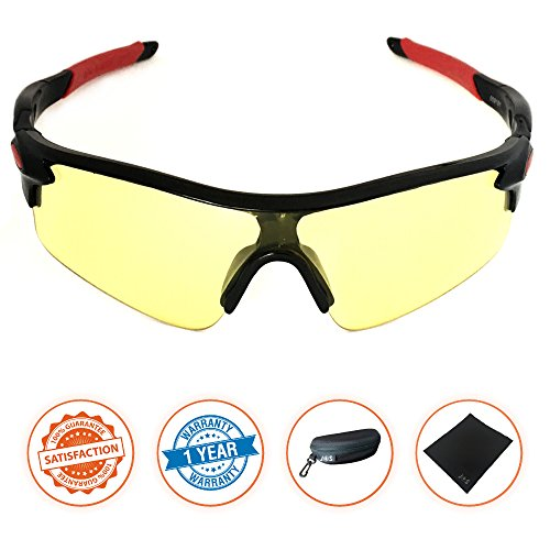 J+S Active PLUS Cycling Outdoor Sports Athlete's Sunglasses, 100% UV protection (Black Frame / Yellow - 400 Uv Sunglasses