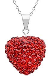 .925 Sterling Silver Red Heart Shape Crystals Pendant Necklace,18""