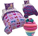 JOJO SIWA Twin/Full Size REVERSIBLE Comforter and Pillow Sham + Plush CUPCAKE Pillow Buddy