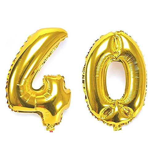 B-G 40 Inch Gold Number Balloons ( Number 40 ) Huge Mylar Foil Balloon for 40th Birthday Anniversary Party Decoration BA040 (40th Anniversary Balloons)