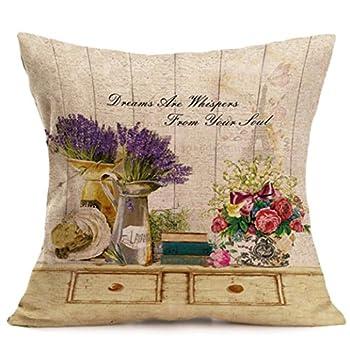 Clearance! Pillowcase,Canserin Fashion Home Decor Cotton Linen Printed Throw Pillow Case Sofa Waist Cushion Cover (43cmX43cm, L)