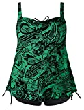 Septangle Women's Plus Size Bathing Suits Paisley Print Two Piece Swimsuit (Green, US 20W)