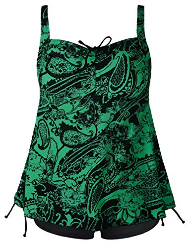 Septangle Women's Plus Size Bathing Suits Paisley Print Two Piece Swimsuit (12, Green) (Bathing Suits That Cover Thighs And Stomach)