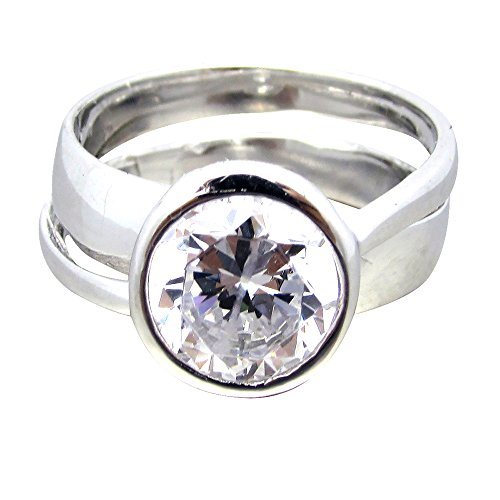 SR01140 .925 Sterling Silver 2ct Round Brilliant Cut Clear CZ Bezel Set Ribbon Band Solitaire Ring