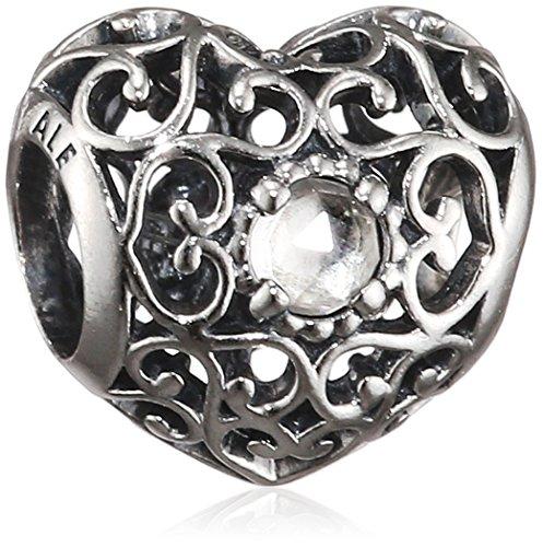 PANDORA 791784RC April Signature Heart Charm