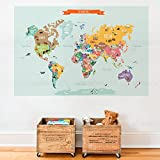 Countries of the World Map Poster Wall Sticker (Medium - 52.5'' w x 34'' h) - by Simple Shapes