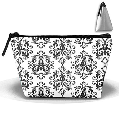(Black Flower Tattoo Trapezoidal Storage Bag Double Print Handbag Coin Purse Cosmetic Pouch Wallet Pencil Holder)