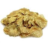 Koyal Wholesale Silk Rose Petals Confetti, Gold, Bulk 1200-Pack Wedding Flowers Table Scatter, Rose Petal Aisle Runner