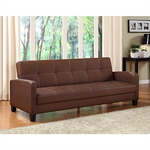 Cheap DHP Delaney Sofa Sleeper in Rich Faux Leather, Multifunctional, Brown