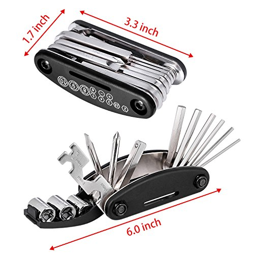 Oumers Bike Tool Kit, Bicycle Bike Repair Kit Set (Bike Chain Repair Tool with Chain Hook + 16 in 1 Multi Function Mechanic Screwdriver Socket Wrench Kit) Essential Bicycle Tools